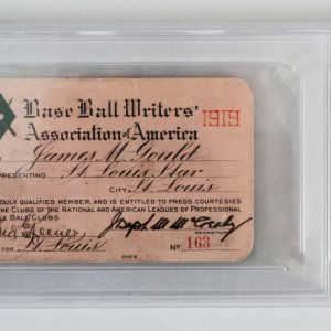 1919 BBWAA Press Pass Babe Ruth Last Red Sox Year