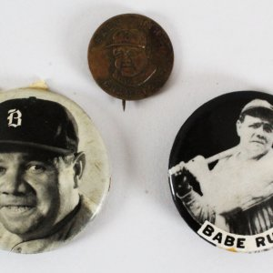 Babe Ruth Pins Lot (3) Yankees