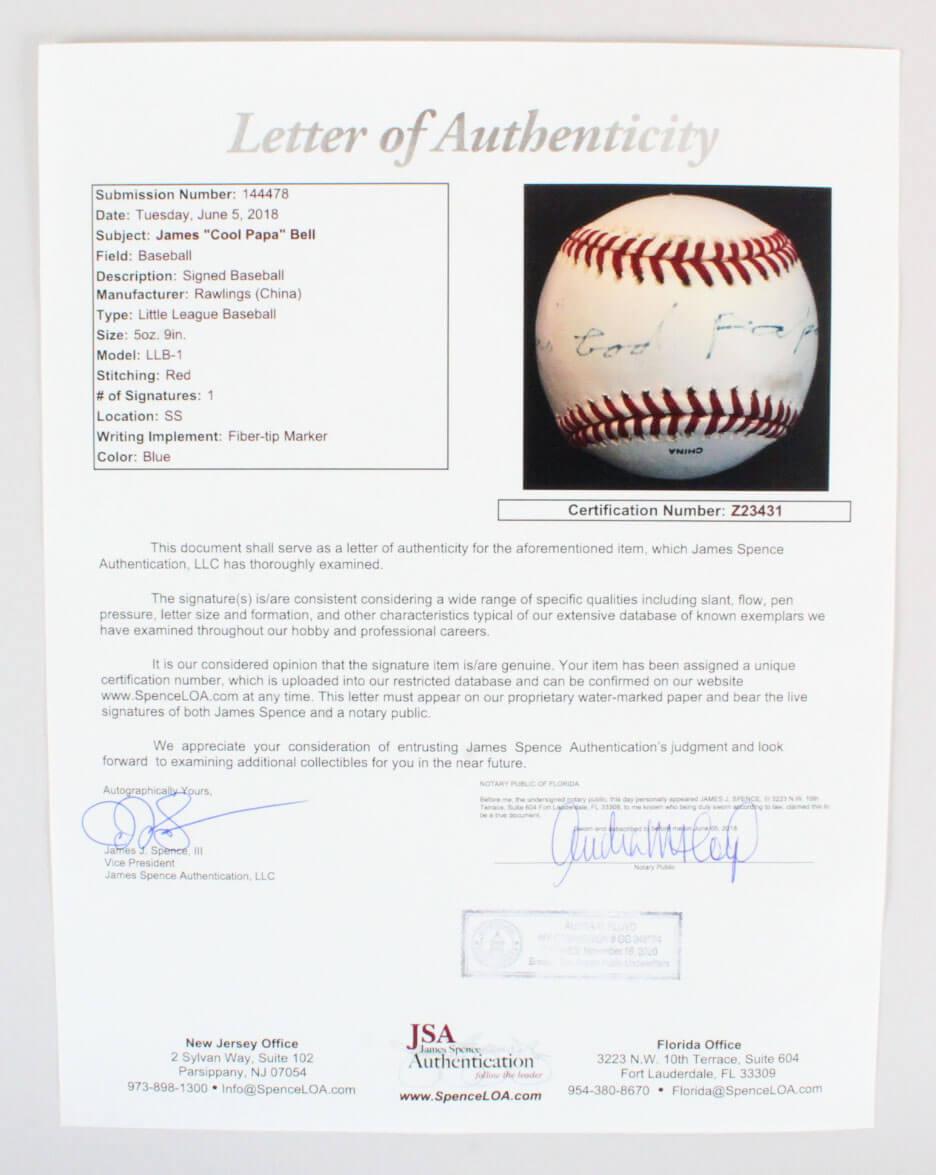"James ""Cool Papa"" Bell Signed Baseball Crawfords – COA JSA | Memorabilia  Expert"