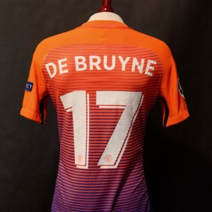 A Kevin De Bruyne Game-Used #17 Manchester City FC Away Shirt.  2016/17 UEFA Champions League.