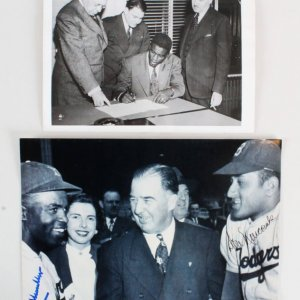 Jackie Robinson Wire Photo w/Newcombe Signed Photo - COA PSA/DNA
