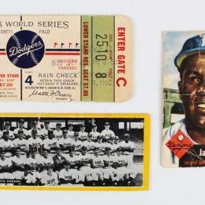 Brooklyn Dodgers Lot - WS Ticket - Jackie Robinson Cards
