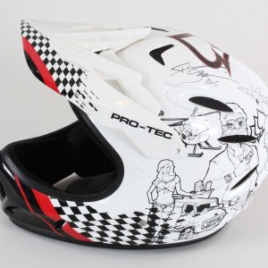 T.J. Lavin Race-Worn Helmet Signed