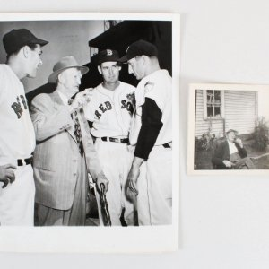 Cy Young Wire Photo Red Sox w/ Personal Photo