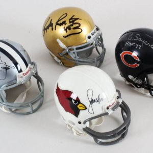 NFL Signed Mini Helmet Lot (4) - Larry Fitzgerald, etc. - COA JSA