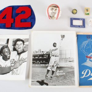 Jackie Robinson Game-Worn Jersey Numbers, Brooklyn Dodgers Lot - Photos, Program, Silver, etc.