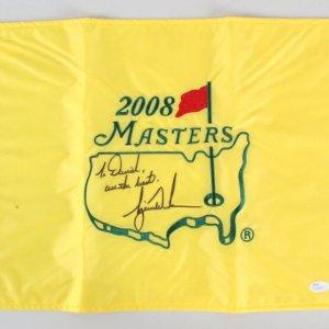 2008 Tiger Woods Signed Golf Flag Masters - COA JSA