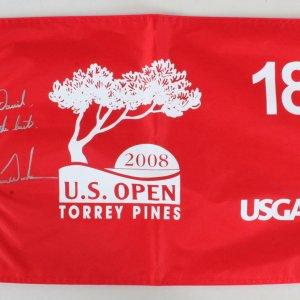 2008 Tiger Woods Signed Golf Flag US Open - COA JSA