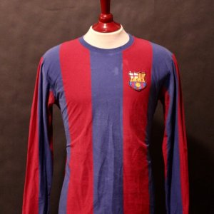 Johan Cruyff Game-Used #9 FC Barcelona Shirt, Warm-Up Top & Pennant.  Circa 1970's.