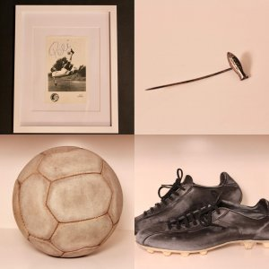Pele's Game-Used Puma Soccer Boots, Match Ball, Santos FC Pin & Signed Photograph.