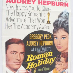 1953 Roman Holiday Movie Poster One Sheet R62/342