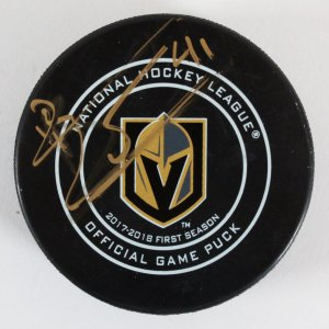 Pierre-Edouard Bellemare Signed Hockey Game Puck Golden Knights - COA JSA