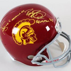 Matt Leinart & Reggie Bush Signed Helmet USC Trojans - COA TriStar