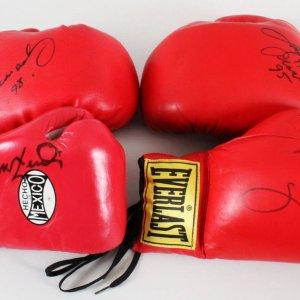 Boxing Glove Lot (4) - Oscar De La Hoya, Leon Spinks, etc. - COA JSA