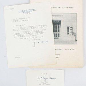 J. Edgar Hoover Signed Letter TLS & Cut - COA JSA