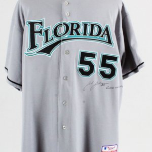 Josh Johnson Game-Worn Jersey Signed Marlins - COA MLB