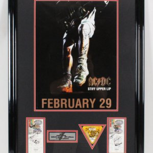 AC/DC Signed Poster Display - COA JSA