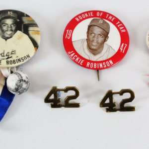 Jackie Robinson Pin Lot (3) Brooklyn Dodgers