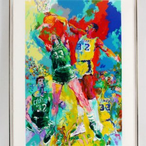 LeRoy Neiman Signed Lithograph Larry Bird vs. Magic Johnson
