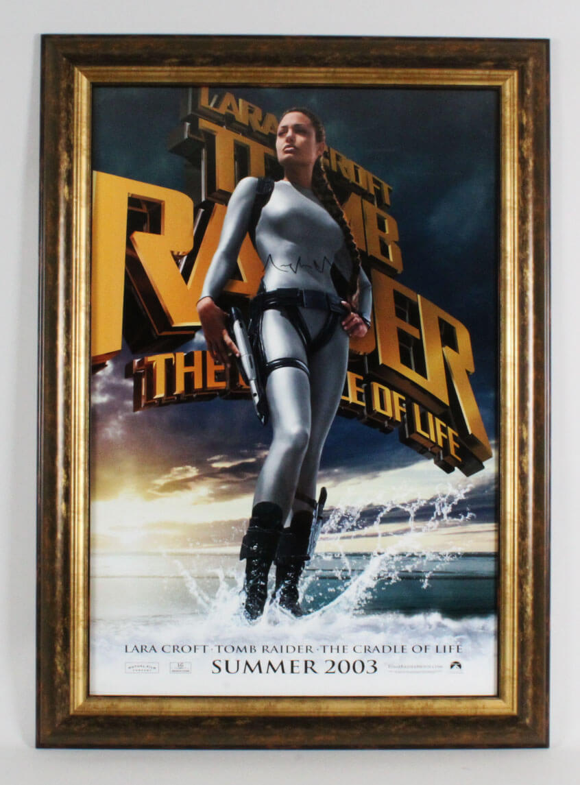Angelina Jolie Signed Poster Tomb Raider Coa Jsa
