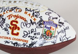 2004 USC Trojans Team-Signed Football National Champs - COA JSA