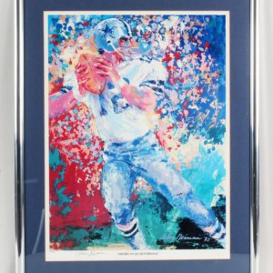 Roger Staubach Signed Poster w/ LeRoy Neiman - COA JSA