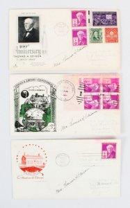 1947 Mrs. Thomas A. Edison Signed FDC Cover Lot (3) - COA JSA