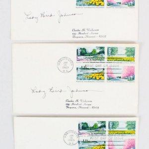 1969 Lady Bird Johnson Signed FDC Lot (3) - COA JSA