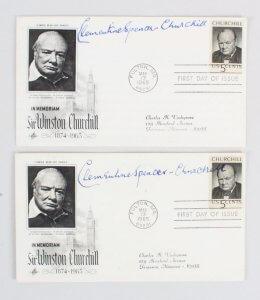 1965 Clementine Spencer Churchill Signed FDC Lot (2) - COA JSA