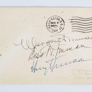 President Harry Truman Signed FDC w/ Family - COA JSA
