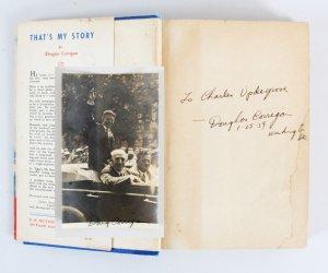 Douglas Corrigan Signed Book & Photo - COA JSA