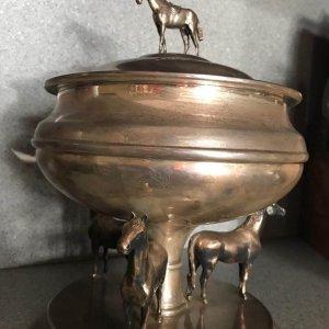 Afleet Alex winning Belmont Stakes trophy