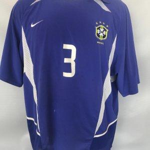 2003 Brazil #3 Lucio Game Worn Jersey