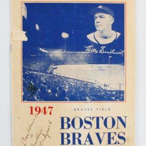 1947 Brooklyn Dodgers vs. Boston Braves Program Jackie Robinson