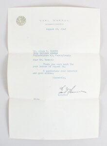 US Governors Al Smith & Earl Warren Signed Letter w/Cut - COA JSA