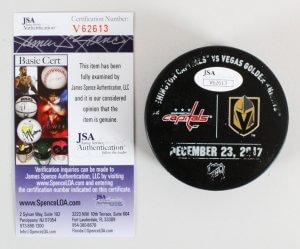 Nate Schmidt Signed Hockey Puck Game-Used Golden Knights - COA JSA