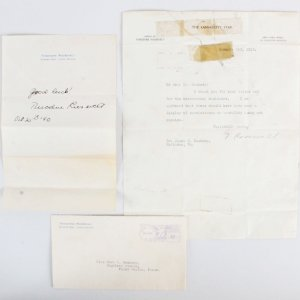 President Theodore Roosevelt Signed Letter w/ His Son TLS - COA JSA