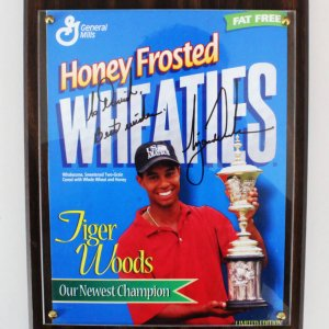 Tiger Woods Signed Wheaties Box Cover - COA JSA