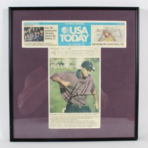 Tiger Woods Signed Newspaper Cut-Out Display - COA JSA