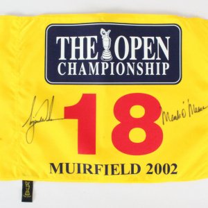 Tiger Woods Signed Flag w/Mark O'Meara - COA JSA