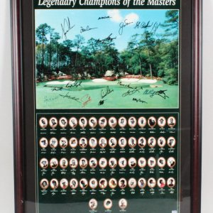 Champions of the Masters Signed Poster Display (w/19 incl. Tiger Woods, Nicklaus, et al.) - COA PSA/DNA