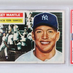 1956 Topps Mickey Mantle Graded Card Gray Back #135 - PSA