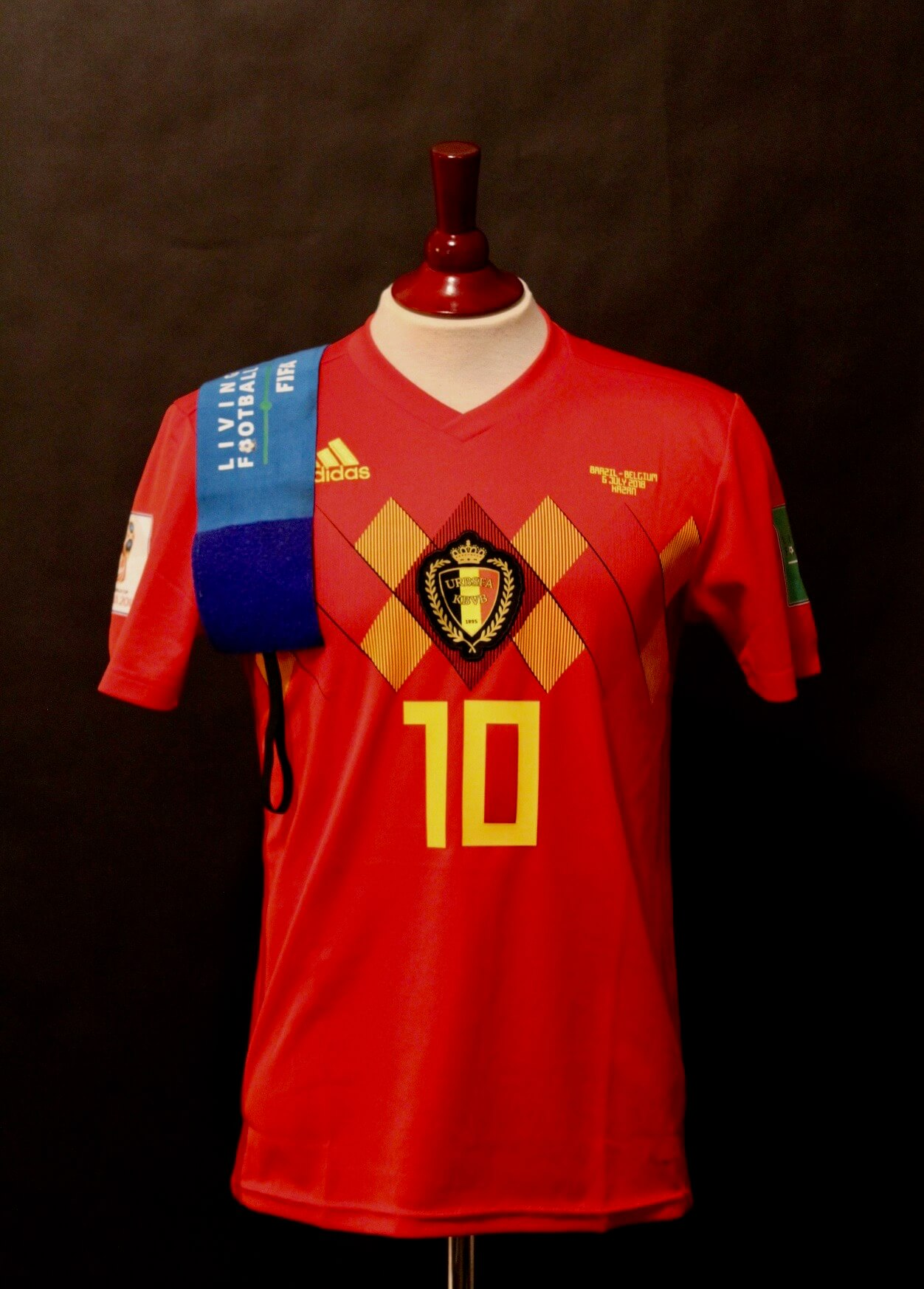 3561f4dbfe2 Eden Hazard Game-Used  10 Belgium Shirt   Armband. 2018 FIFA World Cup.