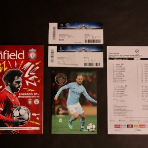 Liverpool v Manchester City 2018 UEFA Champions League Quarterfinals Match Programmes, Tickets and Team Sheet.