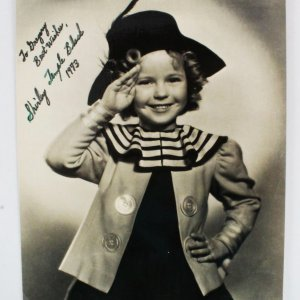 Shirley Temple Signed Twice Photo - COA JSA
