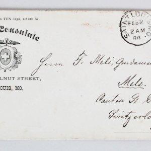 1888 Swiss Consulate Envelope 5 Cent Garfield Stamp