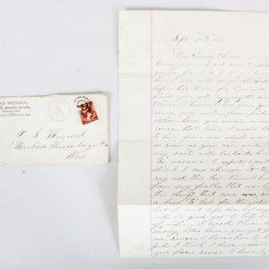 1883 Bullseye Cancelled 2 Cent Washington Stamp w/ Letter - COA 100% Authentic Team