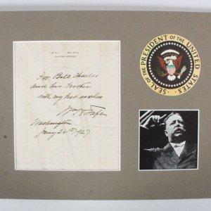President William Howard Taft Signed Letter - COA JSA