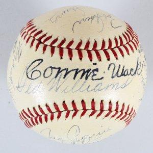Vintage HOFers Signed Baseball 19 w/ Jimmie Foxx, Joe DiMaggio etc. - COA JSA