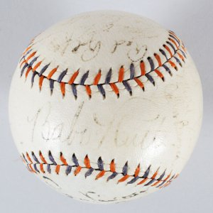 Babe Ruth Signed Baseball w/ Tony Lazzeri & Other Yankees - COA JSA